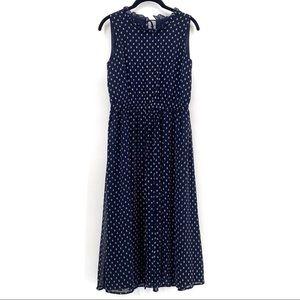 Maggy London Polka Dot Tie Waist Midi Dress Blue